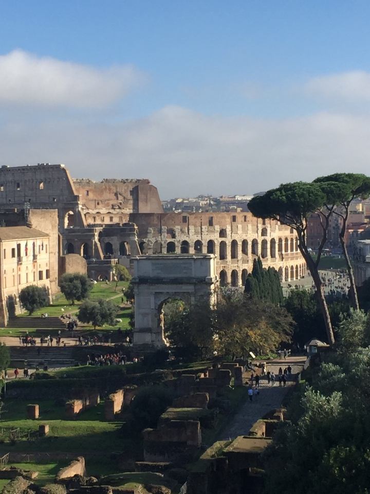 From a distant you can see the Roman Forum and at the end of picture one can see the Roman Colosseum.